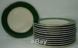HOMER LAUGHLIN china RESTAURANTWARE Green DINNER PLATE 10-1/4 set of TWELVE