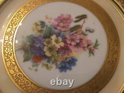 HUTSCHENREUTHER SELB Bavaria Gold Encrusted Flower Charger Dinner Plate Set Of 5