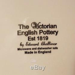 Halloween Victorian English Pottery SKULL Skeleton 8 Pc Set Dinner Plates & Bowl