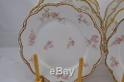 Haviland Limoges Double Gold Pink Roses Set of 8 Dinner Plates