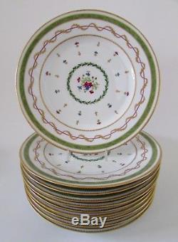 Haviland Limoges France Vieux Paris Vert Green 9 3/4 Dinner Plates Set 10