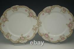 Haviland Limoges Porcelain Antique Schleiger 488-2 Set Of 3 Dinner Plates Roses