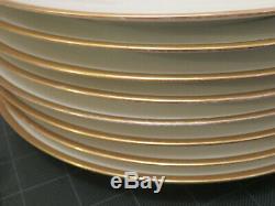 Haviland Limoges White and Gold Gilded Rim Dinner Plates Porcelain Set 8 France