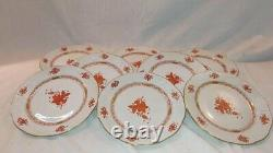 Herend Chinese Bouquet Rust Orange Set of 8 Dinner Plates 9