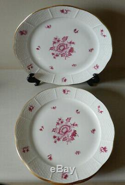 Herend Raspberry, Embossed, No Trim, Floral 10 Dinner Plates SET OF 4 UNUSED