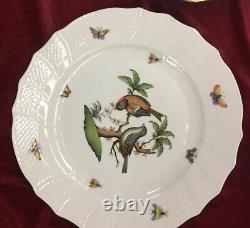 Herend Rothschild Bird Dinner Plates Set of 8