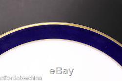 Hutschenreuther Cobalt Gold Encrusted 9 3/4 Wide Dinner Plates Set of 12 -MINT