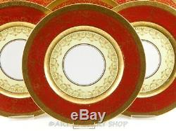 Hutschenreuther Royal Bavaria MAROON & GOLD ENCRUSTED DINNER PLATES Set of 12
