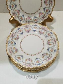 J P L Jean Pouyat Limoges France Antique Set of 6 Salad Plates Floral Gold Trim