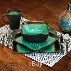 Jade Dinnerware Set, Galaxy Square 16-Piece, Dinner, Salad Plates, Bowls, Mugs
