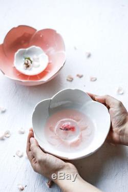 Japanese Cherry Blossom Sakura 3D Ceramic Dinner Plate Bowl Set Pink White Dish