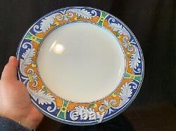 L'Antica Deruta Ghirlanda Italian Dinner Plates 11 1/4Dia Set of 6 Blue Orange