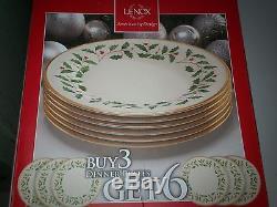 LENOX HOLIDAY CHINA CHRISTMAS SET OF 6 DINNER PLATES NIB 10.5 HOLLY and BERRY