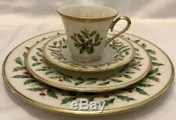 LENOX HOLIDAY DIMENSION 16 Piece Set 4 DINNER PLATES 4 SALAD 4 CUP Service for 4