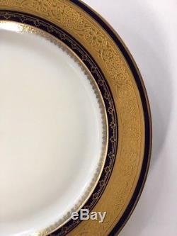 LIMOGES DINNER PLATES, COBALT BLUE & GOLD, Set of 12 PLATES, 1905 1930's