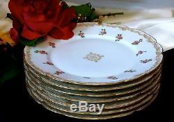 LIMOGES T&V FRANCE Signed Hand Painted 22K Gold Dinner Plate Set of 7 100 Yrs