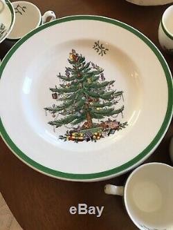 LOT SET SPODE ENGLAND Christmas Tree Dinner Plates Salad Plates Cup Saucer Mugs