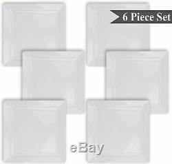 Large 10, Square White Melamine Dinner Plates Set of 6 Indoor Outdoor
