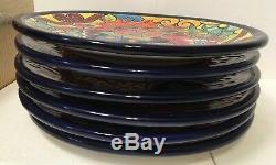 Large 12 Talavera Dish Plate 6Pc Set Dinner Kitchen Mexican Pottery Folk Art