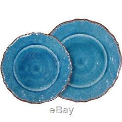 Le Cadeaux Antiqua Blue 16 Piece Dinner & Salad Plate Set