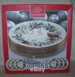 Lenox Christmas Winter Greetings Dinner Plates 10 1/2 Set of 6 NIB