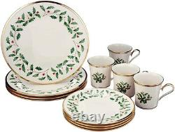 Lenox Holiday 12 Piece Set 4 Dinner Plates 4 Salad Plates 4 Mugs New In Box