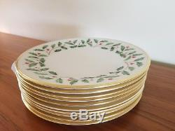 Lenox Holiday China Dinner plates Gold Trim Set of 10 MADE IN U. S. A. EXCELLENT