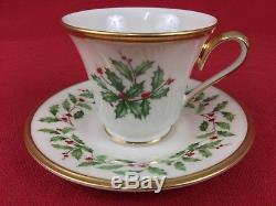Lenox Holiday Holly Berry 48-Piece Set for 12 Dinner Salad Plates Cups Saucers