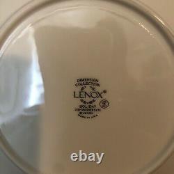 Lenox Holiday Holly & Berry Christmas Dinner Plates 24kt Gold Trim Set of 4 MINT