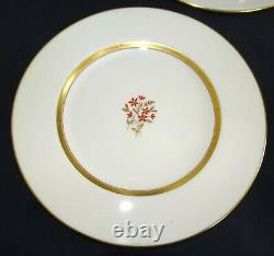 Lenox USA Nydia Set of 11 Dinner Plates 10 1/2 -Red Flower, Gold Trim