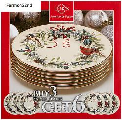 Lenox Winter Greetings Set of 6 Salad Plates Ivory NEW Christmas Dinner