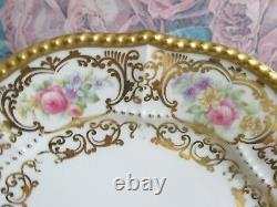 Limoges Elite France Hand Painted Set Of 6 Dinner Luncheon Plate Roses Gold