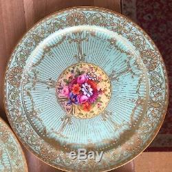 Lovely Set of 4 Dinner Plates Royal Worcester Jewelled Floral signed E Barker
