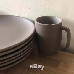 Lovely Set of 6 Heath Ceramics Chocolate Brown Dinner Plates & 2 Mugs