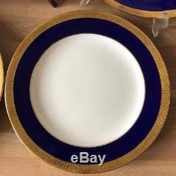 Lovely Set of 7 Minton Cobalt Blue & Gold Encrusted Dinner Plates H1745