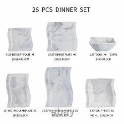 MALACASA Flora 26-Piece Porcelain Dinnerware Set Service for 6 Plates Bowls Set