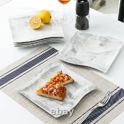MALACASA Flora Dinnerware Set 30pcs Porcelain Marble Grey Wave-shaped Tableware