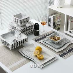 MALACASA, Series Flora, 26-Piece Marble Grey Dinner Set Dinner Plates Bowls Mugs