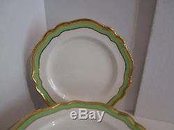 MINT! Set of 12 SPODE 10.75 Dinner Plates White withGold & Green Band