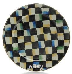 Mackenzie-Childs 10p Courtly Check Enamel Round Dinner Plate Set 1995