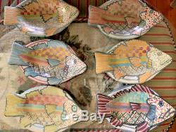 Mackenzie Childs Fish Plates set of 6