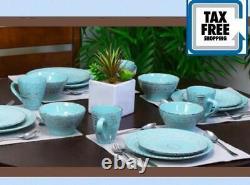 Malibu Set Dinnerware 16 Piece Dishes Plate Mug Turquoise Vintage Service New
