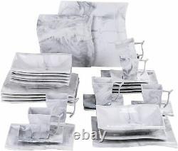 Marble Grey Stoneware Dinner Set 30pc Crockery Plates Bowls Mugs 6 Place Setting