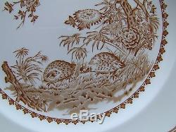 Mason's Quail Brown Transferware Dinner Plates / Set of 8