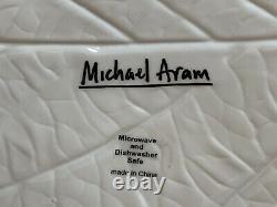 Michael Aram White Porcelain Ceramic Leaf Salad Dinner Plates 10 1/2 L Set of 6