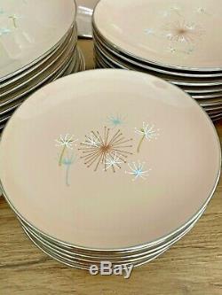 Mid Century Modern Large Dish Set FRANCISCAN BALLET Blush Atomic Service 10