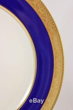 Mint Set 6 Dinner Plates Lenox Bone China C2b Cobalt Blue Raised Gold Encrusted
