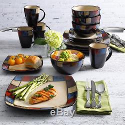 Modern Square Dinnerware Set 16 Piece Dinner Plates Bowls Kitchen Stoneware Dish