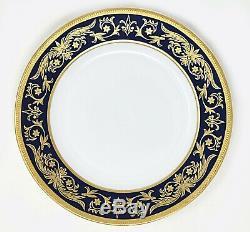 Monno French Porcelain Gold Gilt and Cobalt Blue Dessert Plate 7.5 Set of 8