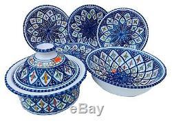 Moroccan Spanish Ceramic Plates Handmade Dinner Plates Tapas 8 Pieces Set Pasta